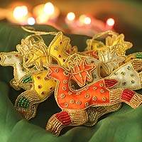 Beaded ornaments, 'Reindeer Gang' (set of 6) - 6 Beaded Hand Crafted Christmas Tree Ornaments from India