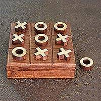 Brass and wood tic-tac-toe, 'Challenge' - Artisan Crafted Tic Tac Toe Game Wood and Brass