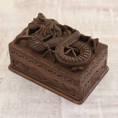 Walnut jewelry box, 'Lucky Dragon' - Hand Carved Wood Jewelry Box from India