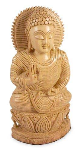 Artisan Crafted Buddhism Wood Sculpture