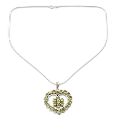 Peridot Heart Necklace Artisan Crafted Jewelry