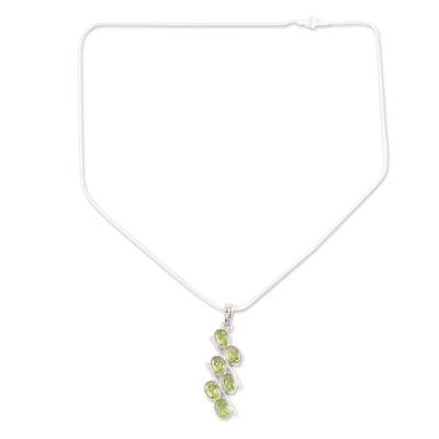 Sterling Silver Necklace with Peridot Artisan Jewelry India