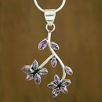 Amethyst floral necklace,