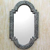 Mirror, 'Palace Window' - Handcrafted Repoussé Metal Framed Wall Mirror