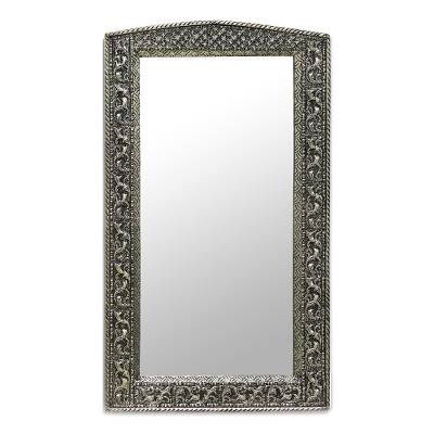 Fair Trade Mirror Hand Craftd Repousse Brass Nickel