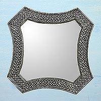 Mirror, 'Stars' - Antique Silver India Repoussé Nickel Over Brass Wall Mirror