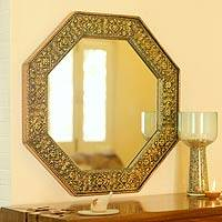Mirror, 'Golden Floral Cloud' - Golden Repouss� Wall Mirror Handmade in India