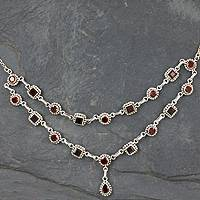 Garnet collarette necklace, Crimson Rain