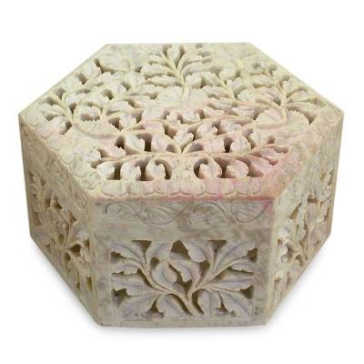 Soapstone jewelry box, 'White Jasmine' - Handcrafted Jali Soapstone Jewelry Box