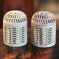 Soapstone jars, 'Nautilus' (pair) - Handcrafted Natural Soapstone Jars in Jali Openwork (Pair)