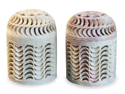 Handcrafted Natural Soapstone Jars in Jali Openwork (Pair)