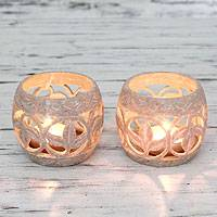 Soapstone candleholders, 'Fig Leaf' (pair) - Tea Light Artisan Candleholders