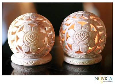 Soapstone candleholders, 'Sunflowers' (pair) - Natural Soapstone Candleholders Hand Carved in India (Pair)