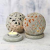 Soapstone candleholders, 'Tea Roses' - Natural Soapstone Candle Holder Hand Made Jali Pair Set