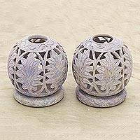 Soapstone candleholders, 'Foliage' (pair) - Handcrafted Natural Soapstone Candle Holders (Pair)