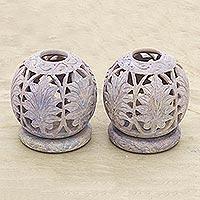 Soapstone candleholders Foliage pair India