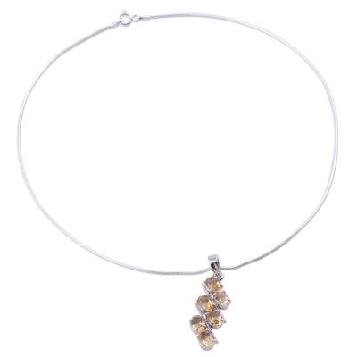 Sterling Silver and Topaz Pendant Necklace