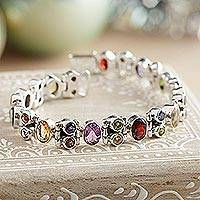 Amethyst and garnet tennis bracelet, 'Sparkle' - Fair Trade Sterling Silver Multigem Bracelet
