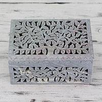 Soapstone jewelry box, 'Honeysuckle' - Handcarved Indian Artisan Jewelry Box