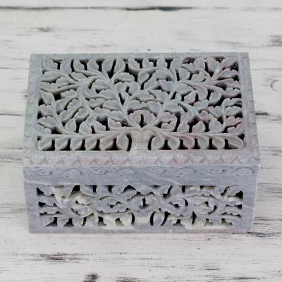 Soapstone jewelry box, 'Honeysuckle' - Hand Carved Jali Soapstone Jewelry Box