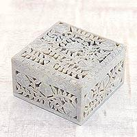 Soapstone jewelry box, 'Poppies' - Jali Carving Soapstone Jewelry Box