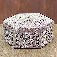 Soapstone jewelry box, 'Wings' - Hand Carved Soapstone jewellery Box