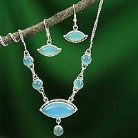 Chalcedony jewelry set, 'Peaceful Sea' - Sterling Silver Y Necklace Chalcedony Jewelry Set