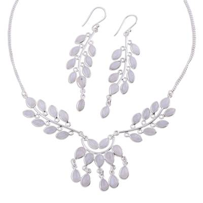 Moonstone and Sterling Silver Jewelry Set Necklace Earrings