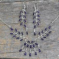 Amethyst jewelry set, 'Falling Leaves' - Floral Sterling Silver and Amethyst jewellery Set