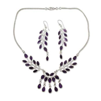 Floral Sterling Silver and Amethyst Jewelry Set