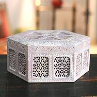 Soapstone jewelry box, 'Royal Palace' - Unique Jali Soapstone jewellery Box from India