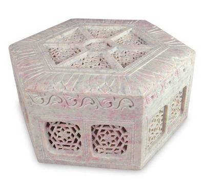 Unique Jali Soapstone Jewelry Box from India