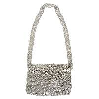 Soda pop-top shoulder bag, 'Shimmery Night' - Recycled aluminium Soda Pop-Top Handbag