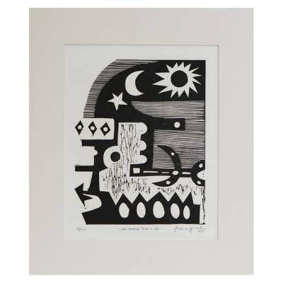 'A Window for the Sky' - Original Brazilian Art Linocut Print in Black and White
