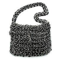 Soda pop-top shoulder bag, 'Black and Shimmery Night' - Soda pop-top shoulder bag