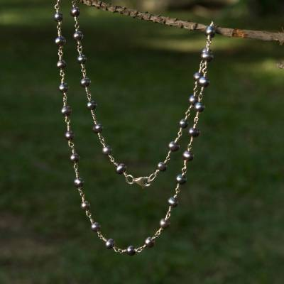 Pearl necklace, 'Silver Radiance' - Handmade Pearl Necklace