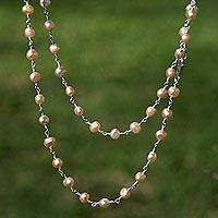 Pearl necklace, 'Pink Radiance' - Handmade Fine Silver Pearl Strand Necklace