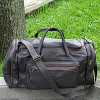 Leather travel bag Brazil in Dark Brown large Brazil