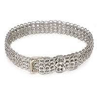 Soda pop-top belt, 'Silver Armor Chain Mail' - Soda Poptop Belt Silver Tone Eco Chic
