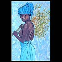 'Afro-Beauty I' - Expressionist Oil Painting from Brazil