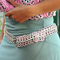 Soda pop-top belt, 'Pink Chain Mail' - Soda pop-top belt