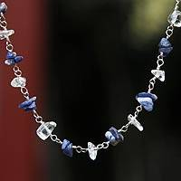 Quartz and sodalite necklace, 'Blue Sky' - Quartz and sodalite necklace