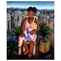 'Favela Girl and Her Little Doll, Marissa' (2005) - 15x18 Original Fine Art Oil Painting (2005)