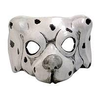 Leather mask, 'Dalmatian Charisma' - Hand Made Leather Dog Mask