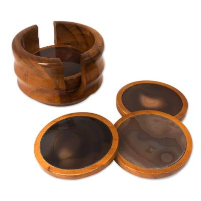 Fair Trade Agate and Cedar Wood Coasters (Set of 6)