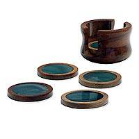 Green agate and cedar coasters, 'Amazon Emerald' (set of 6) - 6 Dark Green Agate and Cedar Coasters with Stand