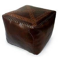 Tooled leather ottoman cover, 'Floral Sun' - Tooled leather ottoman cover