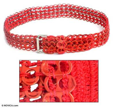 Soda pop-top belt, 'Crimson Chain Mail' - Soda pop-top belt