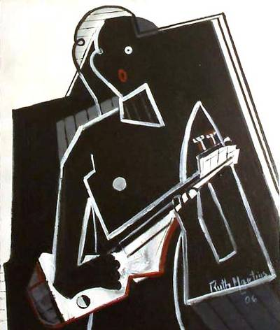 'Woman in Black and White' - Dance and Music Cubist Painting