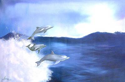 'Dolphins in the Waves' - Brazil Modern Art